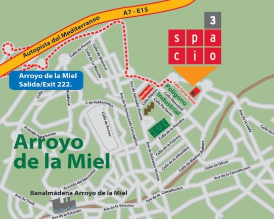 Karta till Spacio3 förråd Benalmadena